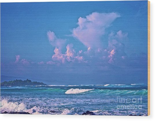 Anaeho'omalu Waves And Clouds Wood Print