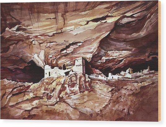 Anassasi Wall Ruins Wood Print