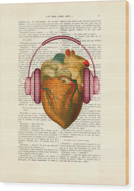 Anatomical Heart And Headphonesin Color  Wood Print