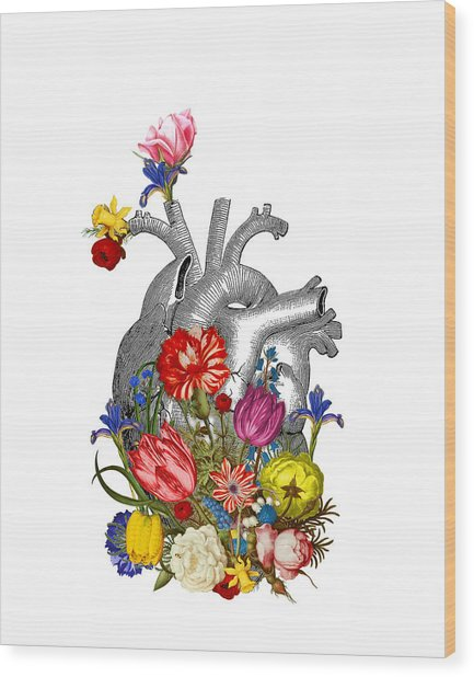 Anatomical Heart With Colorful Flowers Wood Print