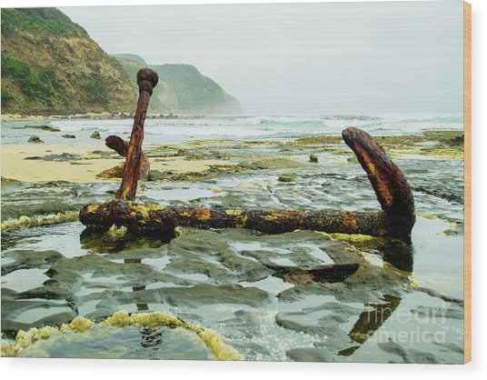Anchor At Rest Wood Print