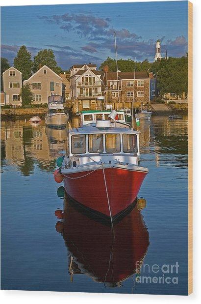 Anchored At Cape Ann Wood Print by Robert Pilkington