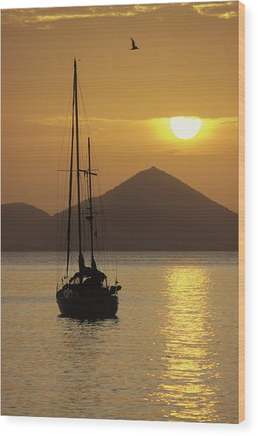 Anchored Ketch And Sunset Over Caribbean Wood Print