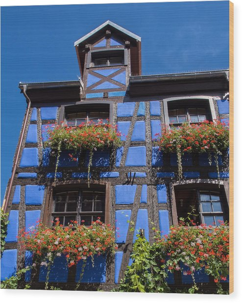 Ancient Alsace Auberge In Blue Wood Print