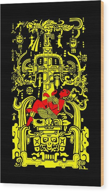 Ancient Astronaut Yellow And Red Version Wood Print