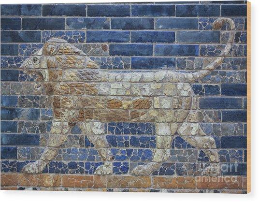 Ancient Babylon Lion Wood Print