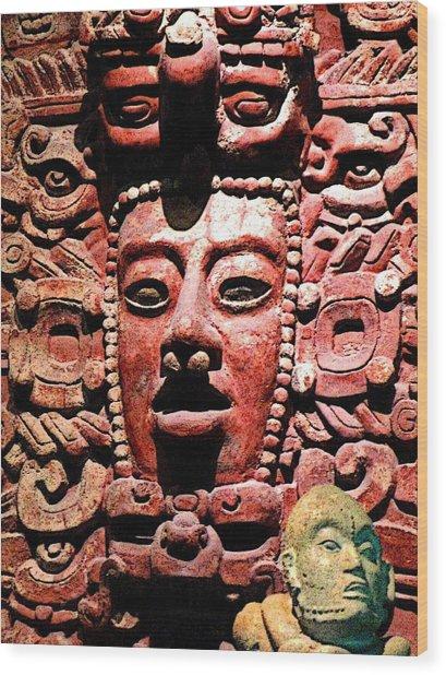 Ancient Faces Wood Print