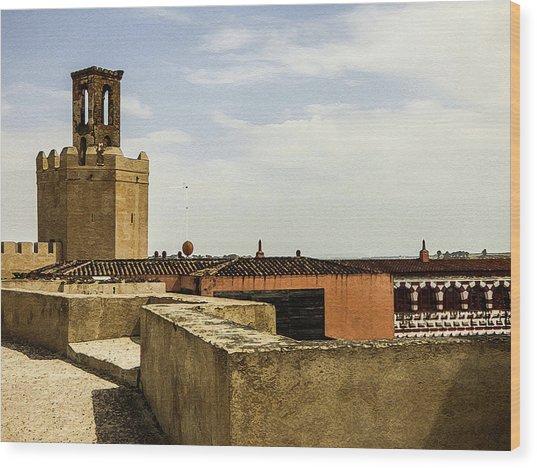 Ancient Moorish Citadel In Badajoz, Spain Wood Print