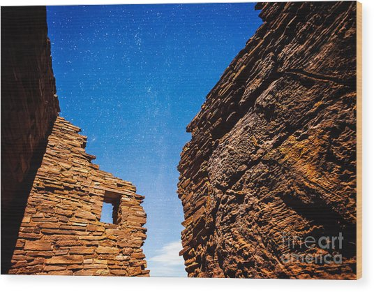 Ancient Native American Pueblo Ruins And Stars At Night Wood Print