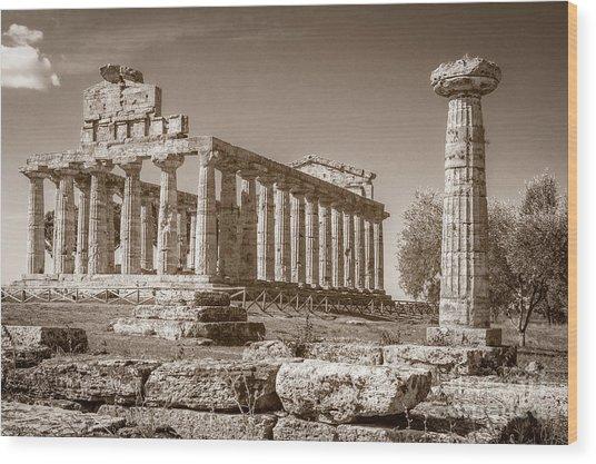 Ancient Paestum Architecture Wood Print