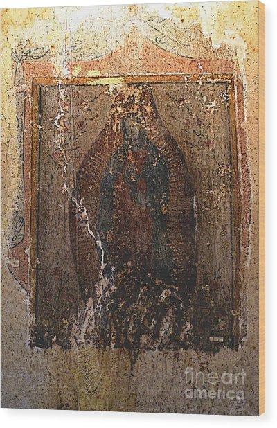Ancient Virgin Of Guadalupe - Ex-convento Yuriria Wood Print