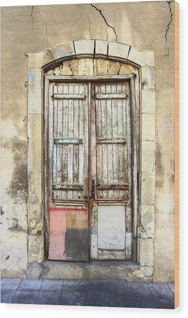Ancient Wooden Door In Old Town. Limassol. Cyprus Wood Print