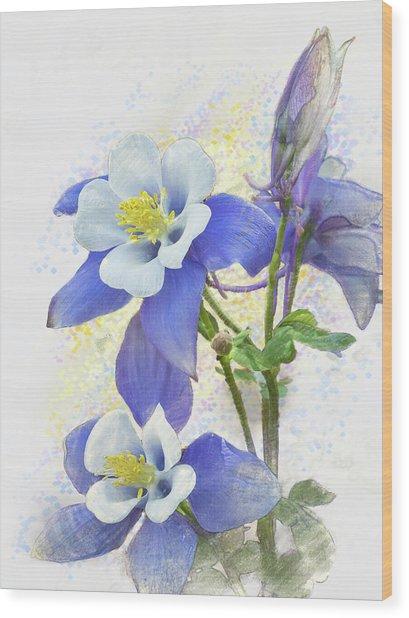 Ancolie Wood Print