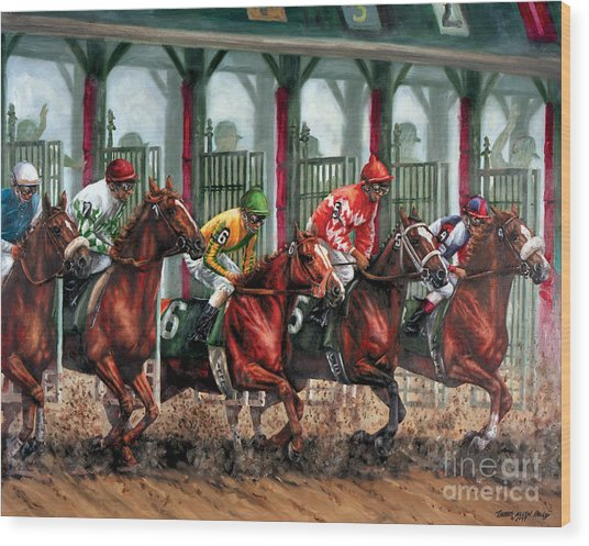 And They're Off Wood Print by Thomas Allen Pauly