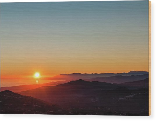 Andalucian Sunset Wood Print