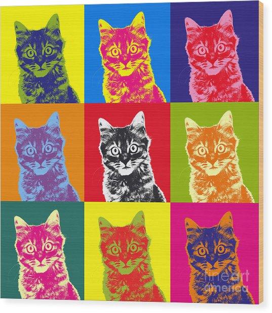 Andy Warhol Cat Wood Print