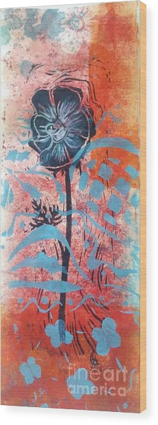 Anemone In Orange And Blue Wood Print
