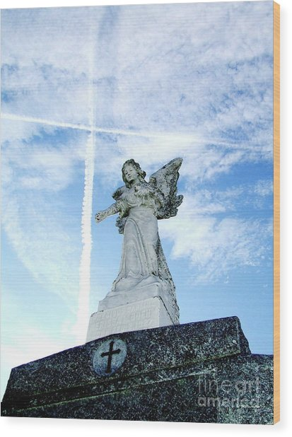 Angel And Crosses Wood Print