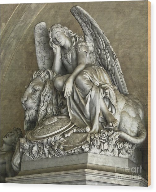 Angel And Lion Statue Wood Print