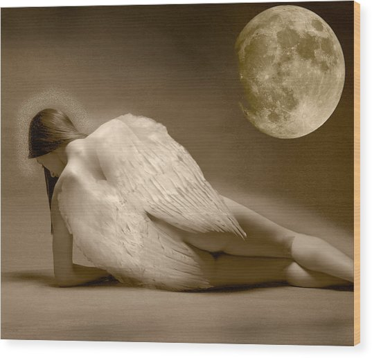 Angel And Moon Wood Print by Gustavo Fortunatto