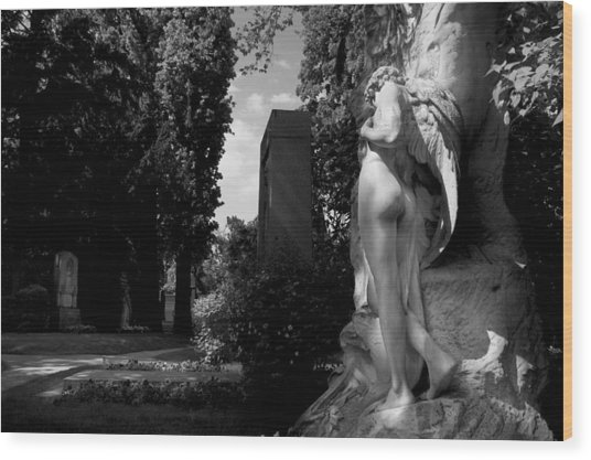 Angel At The Grave Wood Print