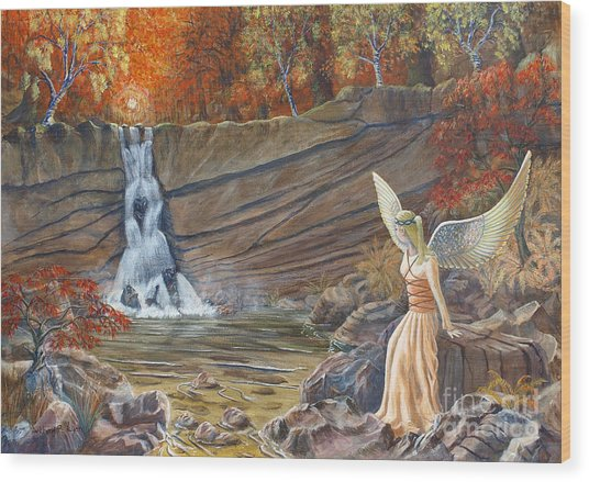 Angel At The Waterfall Wood Print