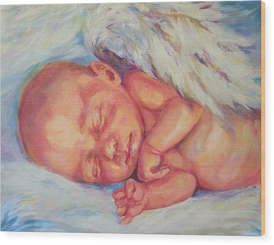 Angel Baby Wood Print by Peggy Wilson