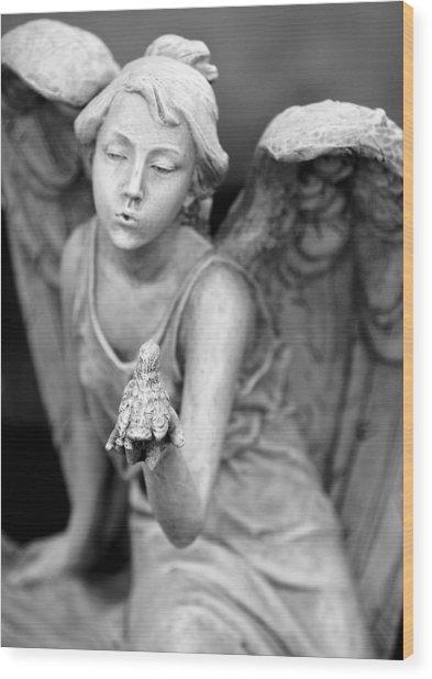 Angel Blowing Kisses Wood Print by Gwen Allen