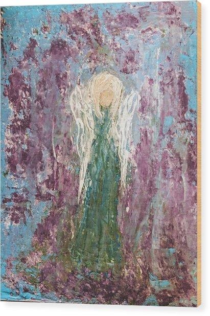 Angel Draped In Hydrangeas Wood Print