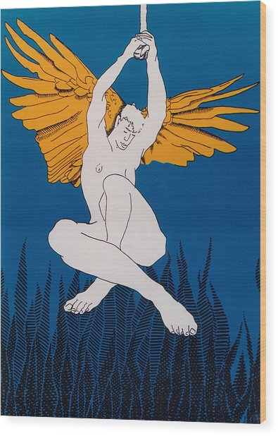 Angel Wood Print by E Gibbons