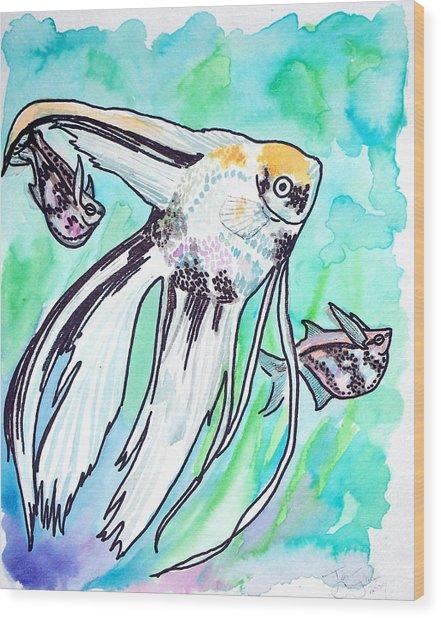 Angel Fish And Hatchet Tetras Wood Print