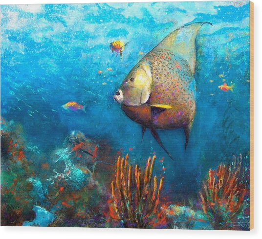 Wood Print featuring the painting Angel Fish by Andrew King