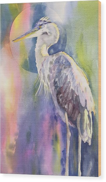 Angel Heron Wood Print