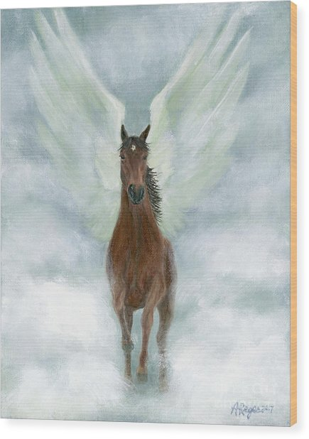 Angel Horse Running Free Across The Heavens Wood Print