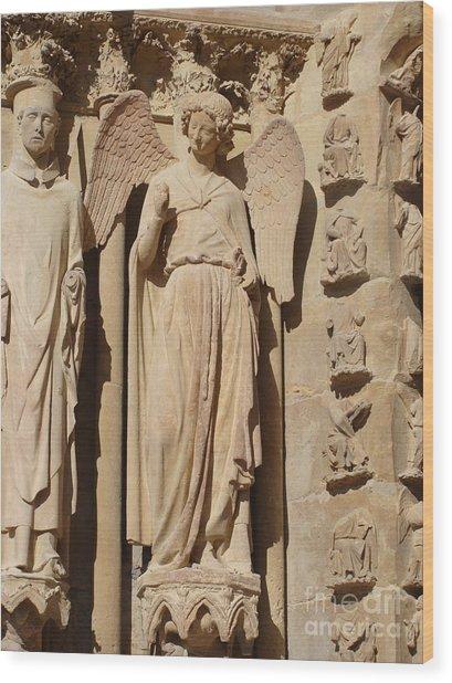 Angel In Reims Wood Print