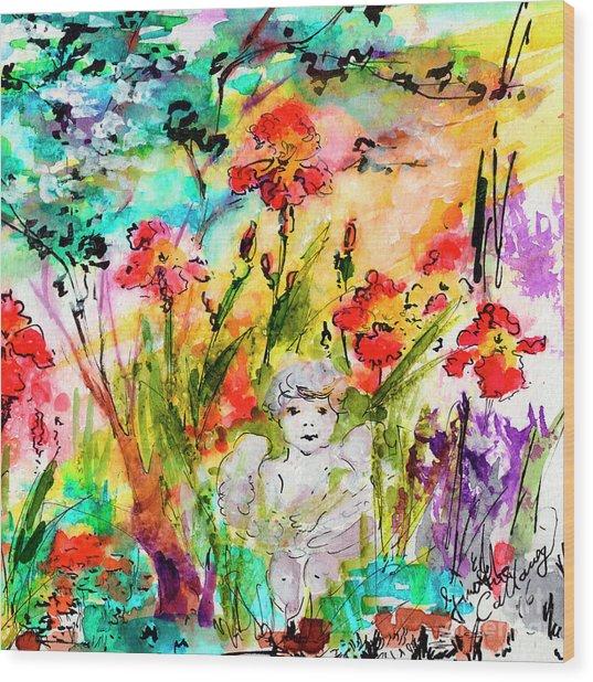Angel In The Garden Watercolor Wood Print