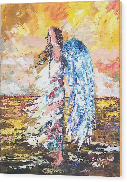 Angel In The Wind Wood Print by Claude Marshall