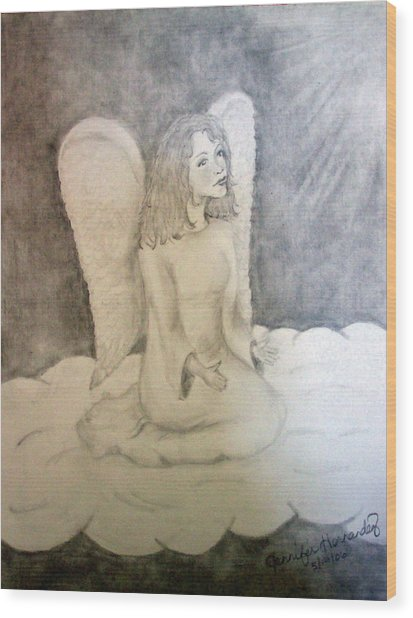 Angel Wood Print by Jennifer Hernandez
