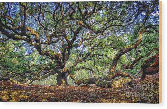 Angel Oak In Digital Oils Wood Print