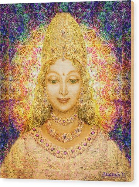 Angel Of Beauty In Blue Wood Print