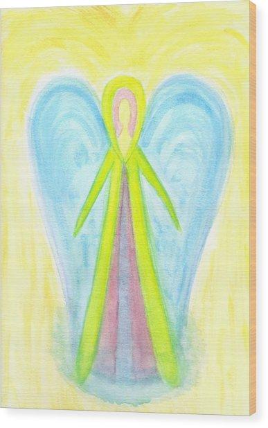 Angel Of Protection Wood Print by Konstadina Sadoriniou - Adhen
