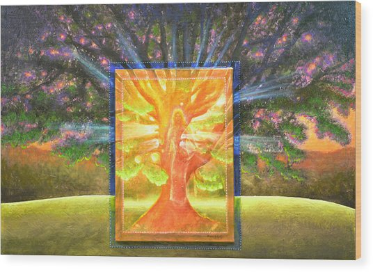 Angel Of The Trees Wood Print