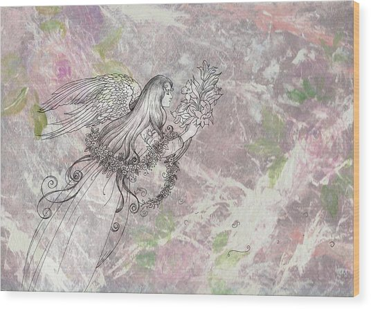 Angel On Pink And Green Florals Wood Print