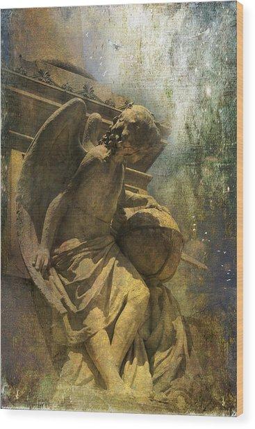 Angel On Watch Wood Print