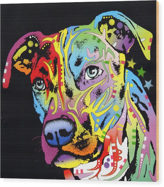 Angel Pit Bull Wood Print