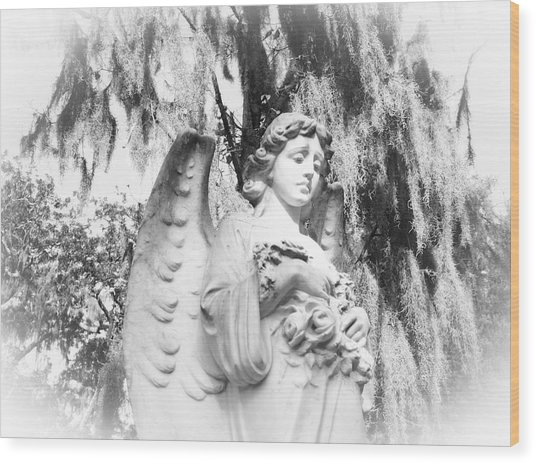 Angel Wood Print by Sabrina  Long