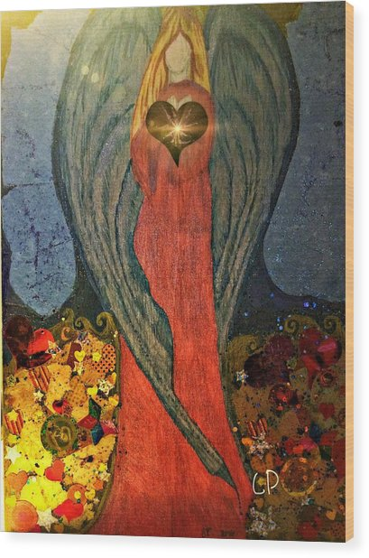 Angel Sails Waves Of Love Wood Print