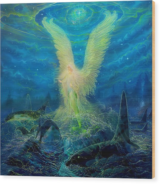 Angel Tarot Card Mermaid Angel Wood Print by Steve Roberts