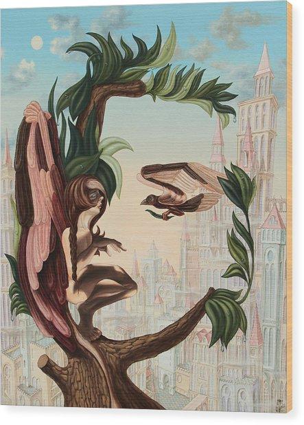 Angel, Watching The Reincarnation Of Marilyn Monroe On The Swinging City Towers Wood Print