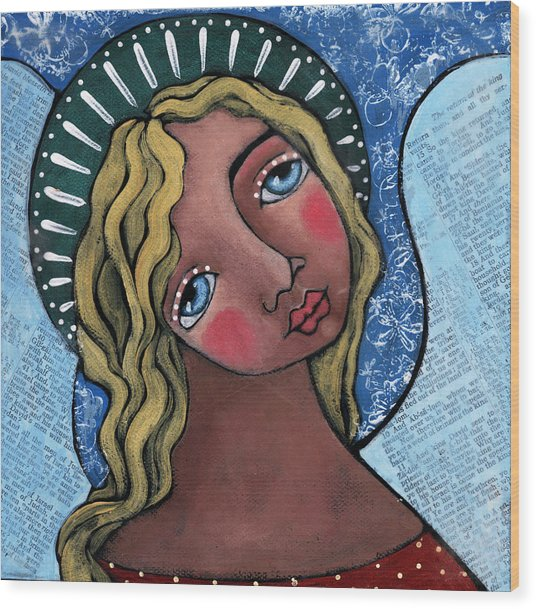 Angel With Green Halo Wood Print by Julie-ann Bowden